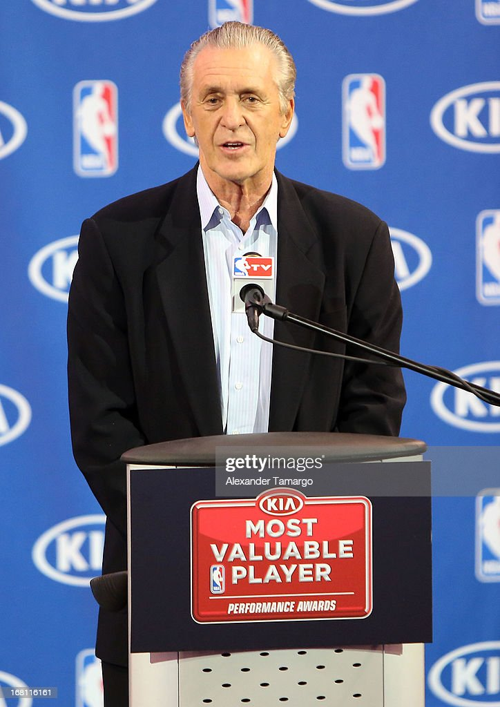 Pat Riley attends the LeBron James press confernece to announce his 4th NBA MVP Award at American Airlines Arena on May 5, 2013 in Miami, Florida.