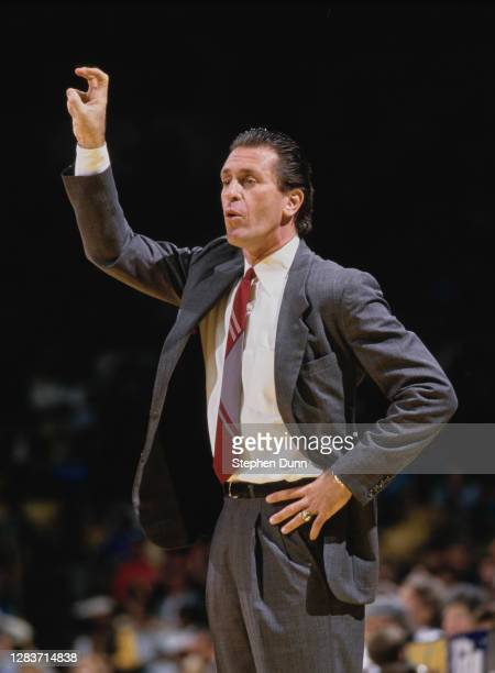 Pat Riley, Head Coach for the Los Angeles Lakers during the 1986/87 NBA Pacific Division basketball season circa March 1987 at The Forum arena in...