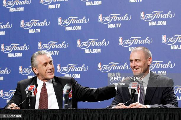 Pat Riley of the Miami Heat and Head Coach Rick Carlisle of the Dallas Mavericks speak to the media before Game Four of the 2012 NBA Finals on June...