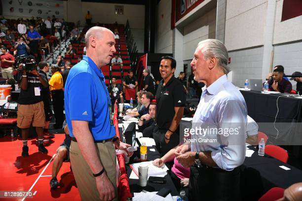 Pat Riley President of the Miami Heat and head coach Erik Spoelstra are seen during the game against the Dallas Mavericks during the 2017 Summer...