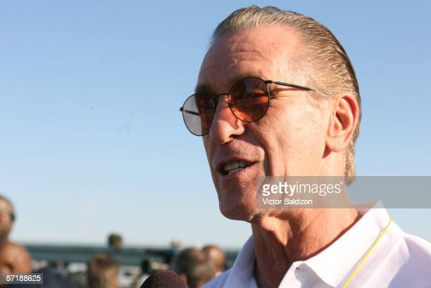 Pat Riley talks to the media during the Miami Heat Family Festival on March 26 2006 at the American Airlines Arena in Miami Florida NOTE TO USER User...