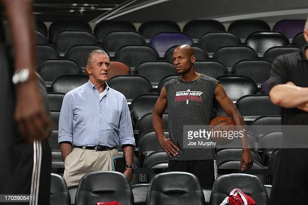 Pat Riley, Team President of the Miami Heat and Ray Allen view practice as part of the 2013 NBA Finals on June 12, 2013 at AT&T Center in San...