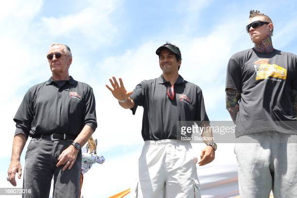 Pat Riley the President Erik Spoelstra and Chris Andersen of the Miami Heat enjoy the Miami Heat Family Festival on April 7 2012 at American Airlines...
