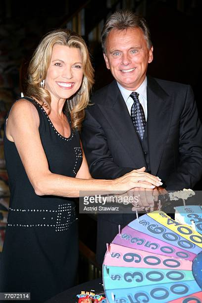 Pat Sajak and model Vanna White cut the cake at the the 25th anniversary celebration of the television game show Wheel Of Fortune at Radio City Music...