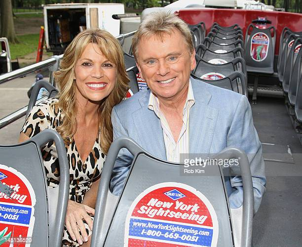 """Pat Sajak and Vanna White of """"Wheel Of Fortune"""" are honored by Gray Line New York's Ride Of Fame Campaign in Central Park on May 23, 2012 in New York..."""