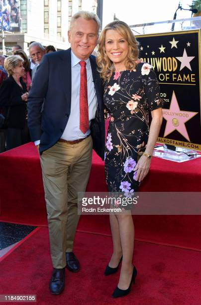 Pat Sajak and Vanna White pose for portrait at Harry Friedman Honored With A Star On The Hollywood Walk Of Fame on November 01, 2019 in Hollywood,...