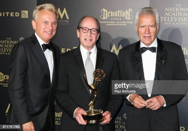 Pat Sajak, Harry Friedman and Alex Trebek attend the 44th annual Daytime Creative Arts Emmy Awards at Pasadena Civic Auditorium on April 28, 2017 in...