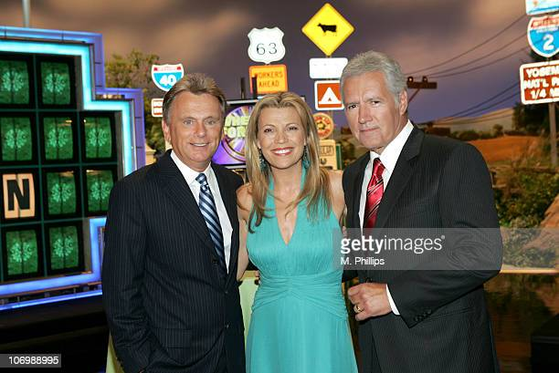 Pat Sajak Host of 'Wheel of Fortune' Vanna White CoHost of 'Wheel of Fortune' and Alex Trebek Host of 'Jeopardy'