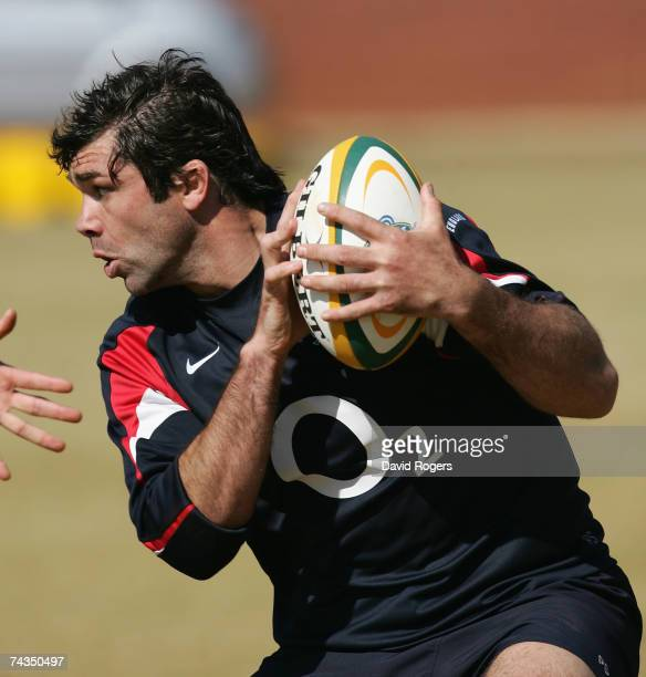 Pat Sanderson of England runs with the ball during the England training session held at Zwarskop School on May 29, 2007 in Pretoria, South Africa.