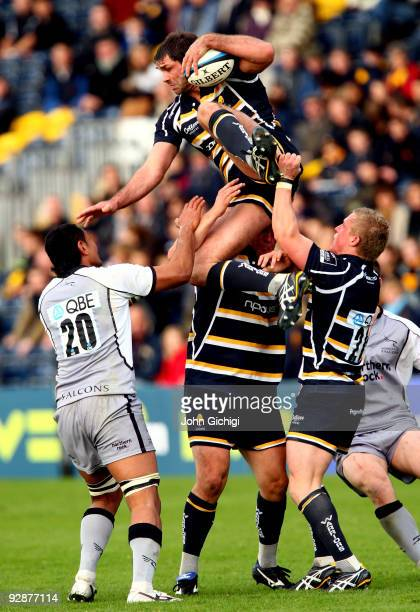 Pat Sanderson of Worcester is brought down during the LV Cup game between Worcester Warriors and Newcastle Falcons on November 7, 2009 at Sixways...