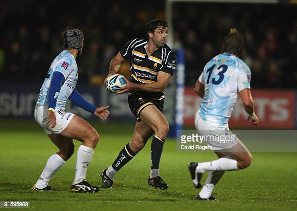 Pat Sanderson of Worcester prepares to pass the ball during the Amlin Challenge Cup match between Worcester Warriors and Montpellier at Sixways on...