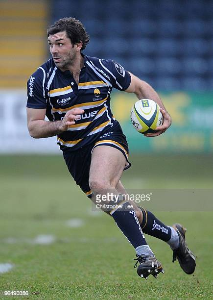 Pat Sanderson of Worcester Warriors during the LV Cup match between Worcester Warriors and London Irish at Sixways Stadium on February 6, 2010 in...