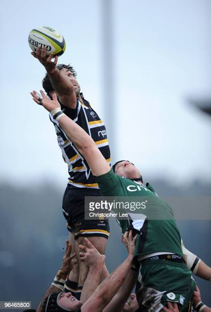 Pat Sanderson of Worcester wins the ball from Gary Johnson of Irish during the LV= Cup match between Worcester Warriors and London Irish at Sixways...