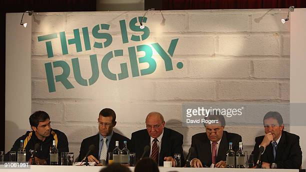 Pat Sanderson, players representative, Damian Hopley Professional Players' Association chief executive, John Owen RFU President, Francis Baron RFU...