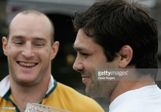Pat Sanderson, the England captain poses with Australian Wallaby captain Stirling Mortlock on June 16, 2006 in Melbourne, Australia.