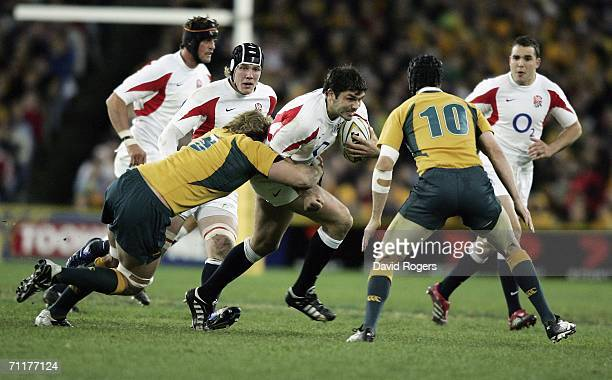 Pat Sanderson, the England captain takes on the Australian defence during the Rugby International between the Australian Wallabies and England at The...