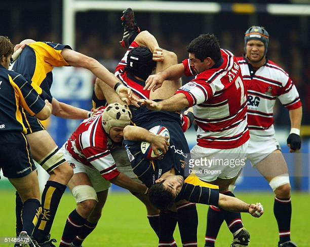 Pat Sanderson, the Worcester captain, is upturned during the Zurich Premiership match between Worcester and Gloucester at Sixways Stadium on October...