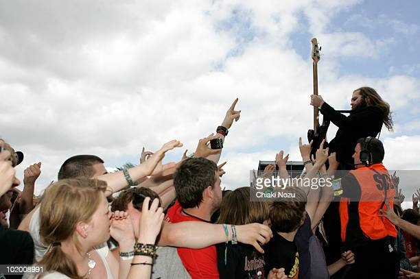 Pat Seals of Flyleaf performs at day 2 of the Download Festival at Donington Park on June 12 2010 in Castle Donington England