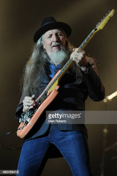 Pat Simmons of the Doobie Brothers performs live for fans at the 2014 Byron Bay Bluesfest on April 18 2014 in Byron Bay Australia