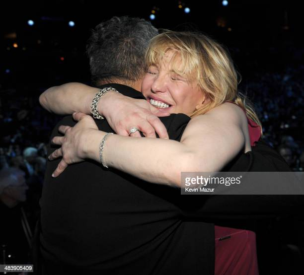 Pat Smear and Courtney Love attend the 29th Annual Rock And Roll Hall Of Fame Induction Ceremony at Barclays Center of Brooklyn on April 10, 2014 in...