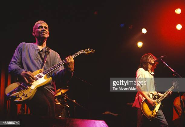 Pat Smear and Dave Grohl of the Foo Fighters perform at The Fillmore on July 26 1995 in San Francisco California