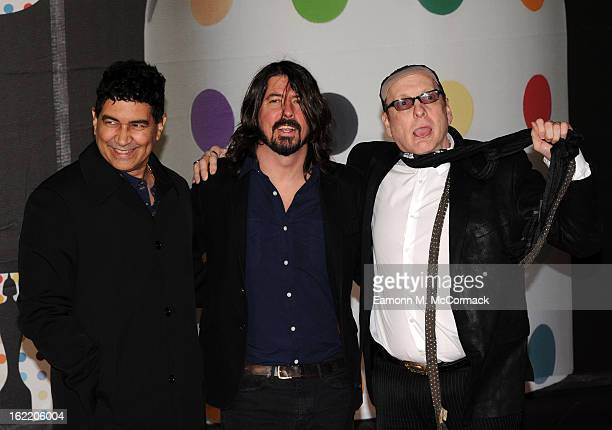 Pat Smear, Dave Grohl and Rick Nielsen of the Sound City Players attend the Brit Awards 2013 at the 02 Arena on February 20, 2013 in London, England.