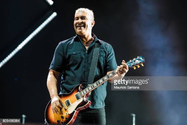 Pat Smear guitarist member of the band Foo Fighters performs live on stage at Allianz Parque on February 27 2018 in Sao Paulo Brazil