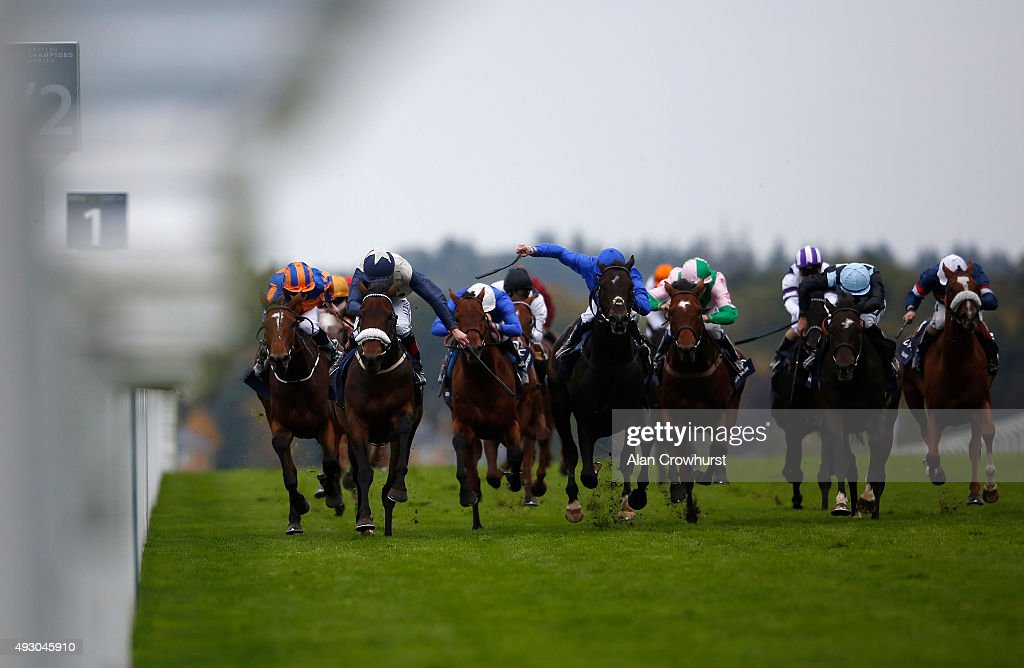 Pat Smullen riding Fascinating Rock (3L, noseband) win The Qipco Champion Stakes at Ascot racecourse on October 17, 2015 in Ascot, England.