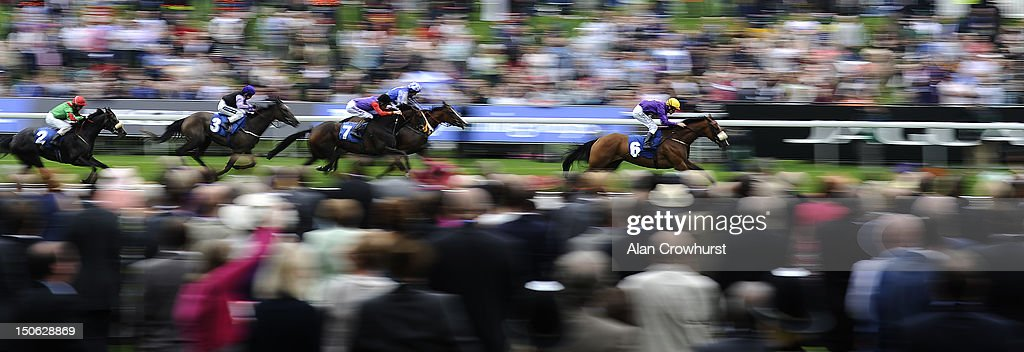 Pat Smullen riding Pale Mimosa win The British Stallion Studs Supporting British Racing EBF Galtres Stakes at York racecourse on August 23, 2012 in York, England.