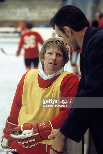 Pat Stapleton of Canada rests during practice between games with the Soviet Union during the 1972 Summit Series at the Luzhniki Ice Palace in Moscow...