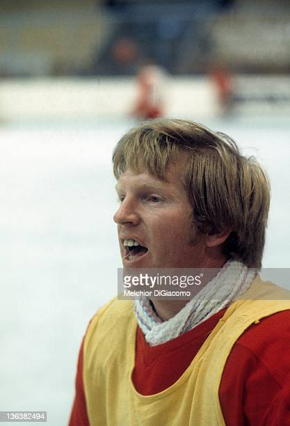 Pat Stapleton of Canada talks during practice between games with the Soviet Union in the 1972 Summit Series at the Luzhniki Ice Palace in Moscow...