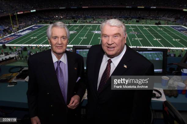 Pat Summerall and John Madden in the broadcast booth together for the last time at Super Bowl XXXVI at the Louisiana Superdome in New Orleans LA...
