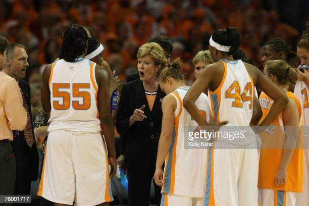 Pat Summit gives the team an earful during a time out during the NCAA Women's Basketball National Championship at Quicken Loans Arena in Cleveland,...