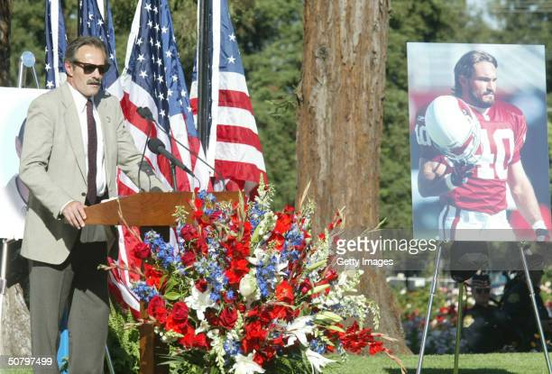 Pat Tillman Sr father of former Arizona Cardinals football player Pat Tillman speaks during a memorial service for his son May 3 2004 in San Jose...