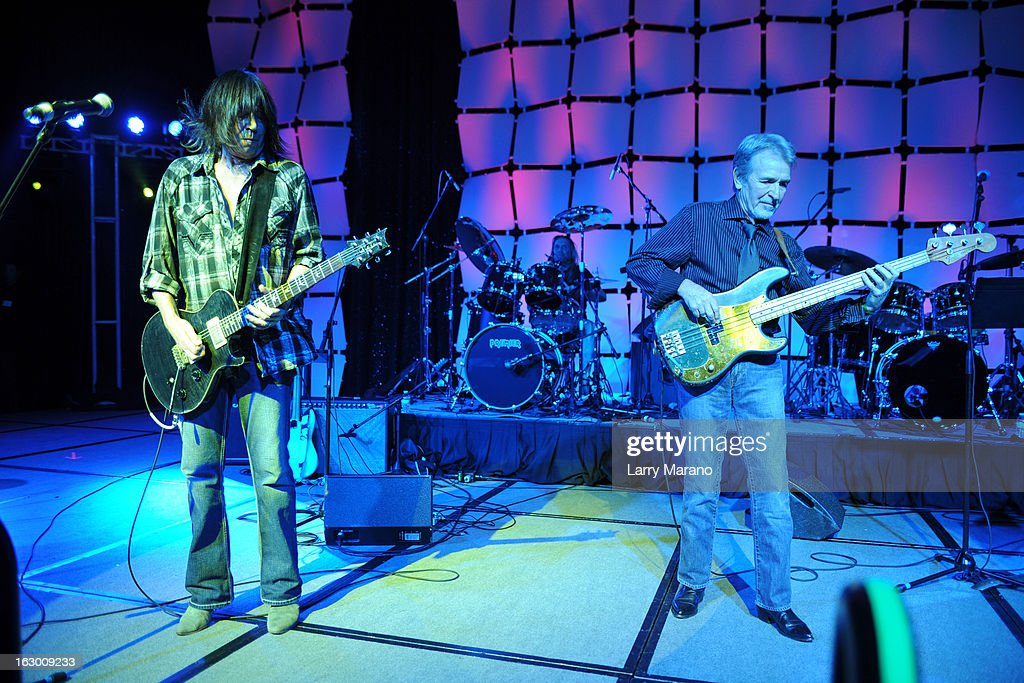 Pat Travers, Nicko McBrain and Pete Cowling perform at The Classic Rock And Roll Party to benefit HomeSafe at Seminole Hard Rock Hotel on March 2, 2013 in Hollywood, Florida.