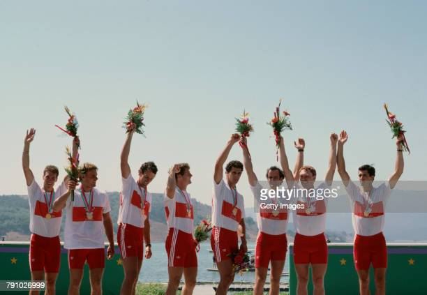 Pat Turner Kevin Neufeld Mark Evans Grant Main Paul Steele Michael Evans Dean Crawford Blair Horn and Brian McMahon of Canada celebrate winning the...