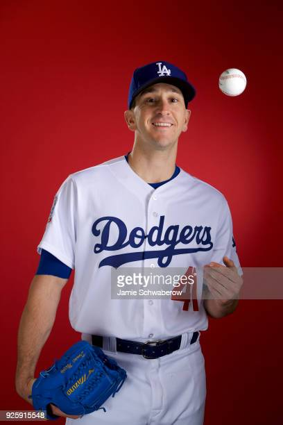 Pat Venditte of the Los Angeles Dodgers poses during MLB Photo Day at Camelback Ranch Glendale on February 22 2018 in Glendale Arizona