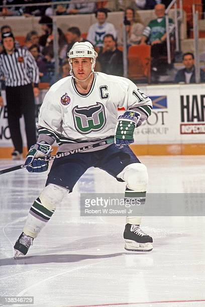 Pat Verbeek of the Hartford Whalers skates on the ice during an game NHL game circa 1993 at the Hartford Civic Center in Hartford Connecticut