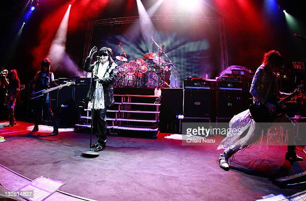 Pata Heath Toshi Yoshiki and Sugizo of X Japan perform at Shepherds Bush Empire on June 28 2011 in London England
