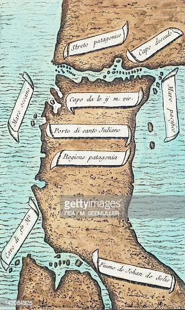 Patagonia and Tierra del Fuego showing the strait that will later take the navigator's name by Antonio Pigafetta taken from Ferdinand Magellan's...