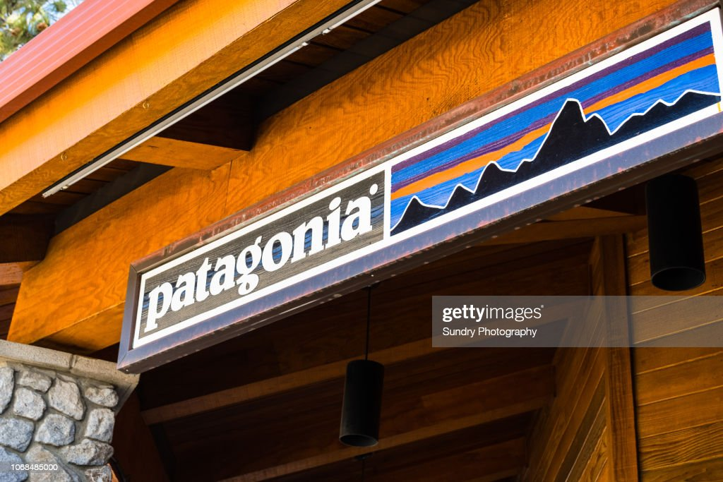 Patagonia sign above the entrance to the store : Stock Photo
