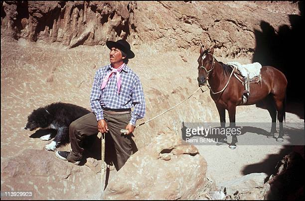 Patagonia the cathedral of the giant dinosaur In Cerro Policia Argentina On January 01 2000The land owner Raul Avelas wearing his traditional...