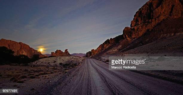 patagonian road at sunset - radicella stockfoto's en -beelden