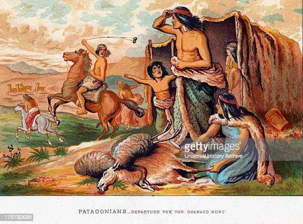 Patagonians hunting Guanoco Illustration 1886
