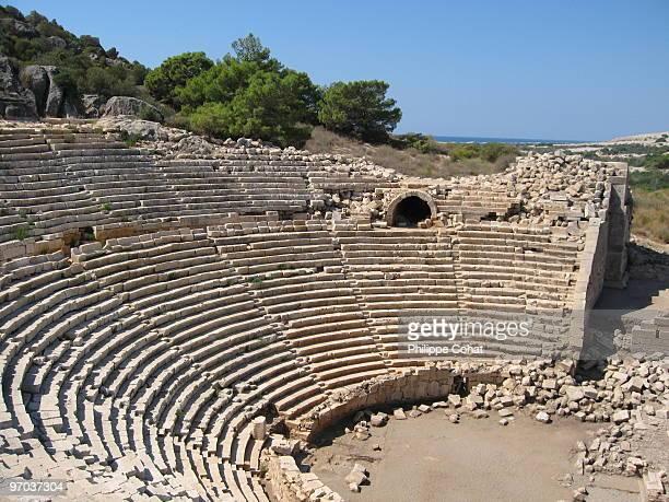 patara theatre, turkey. - amphitheatre stock pictures, royalty-free photos & images