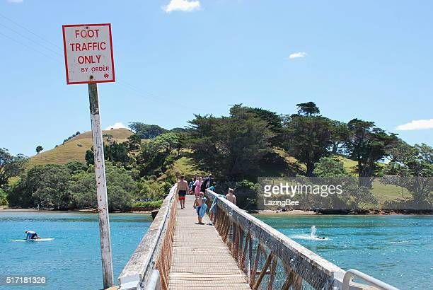 pataua footbridge, whangarei district, northland, new zealand - whangarei heads stock pictures, royalty-free photos & images