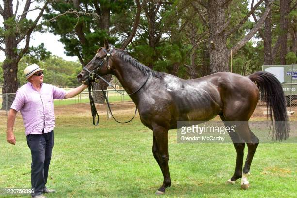 Patch Adams after winning the SEPPELT Great Western Cup at Great Western Racecourse on January 24, 2021 in Great Western, Australia.