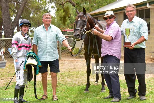 Patch Adams with Harry Coffey and club treasurer Mike Barry and club president Carl Barry after winning the SEPPELT Great Western Cup at Great...