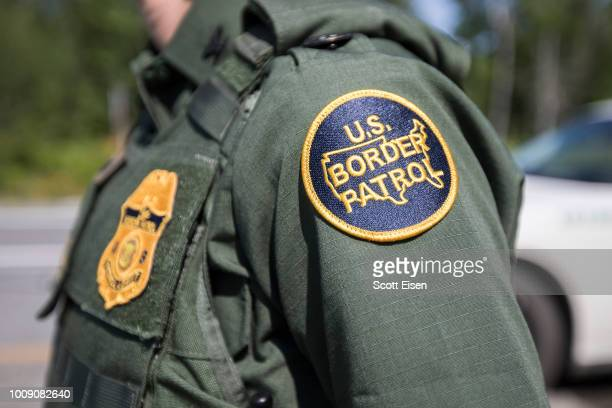 A patch on the uniform of a US Border Patrol agent at a highway checkpoint on August 1 2018 in West Enfield Maine The checkpoint took place...