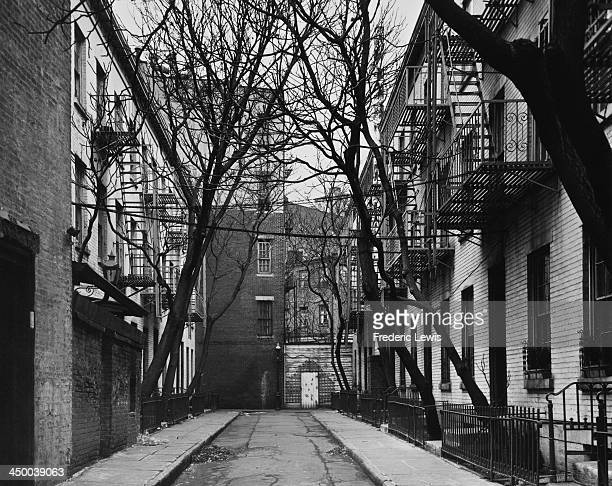 Patchin Place in Greenwich Village the shortest street in New York City circa 1960